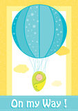 Baby Shower, On my way invitation card. With turqoise balloon on a yellow field Royalty Free Stock Images