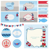 Baby Shower Nautical Set. For Party Decoration, Scrapbook, Baby Shower - in vector Stock Photo