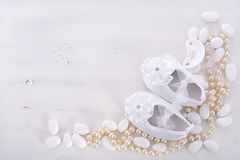 Free Baby Shower Neutral White Background. Stock Images - 56580014