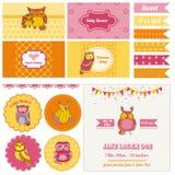 Baby shower Owl Party Set Arkivfoto