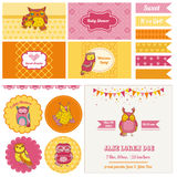 Baby Shower Owl Party Set Stock Photo