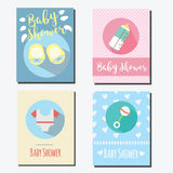 Baby shower party cards, invitations design templates Royalty Free Stock Photo