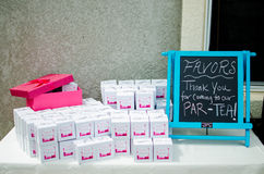 Baby shower party favors d on table Royalty Free Stock Photography