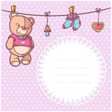 Baby shower party greeting postcard invitation with a text space - vector illustration Stock Photos