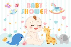 Baby shower party invitation card royalty free illustration