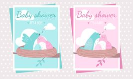 Baby shower party postcard templates with the birds, expecting a baby vector illustration