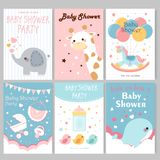 Baby shower party posters royalty free illustration