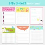 Baby Shower Party Templates. To Do List, Newborn Child Card, Childish Backgrounds with Cute Stork. Birthday Decoration. Baby Shower Party Templates. To Do List Stock Photos