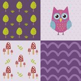Baby shower pattern with a cute owl Stock Image