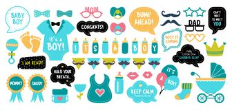 Baby shower photo booth photobooth props set. Baby shower photo booth props. Happy birthday party for boy. Blue cards and speech bubble with funny quotes for new stock illustration