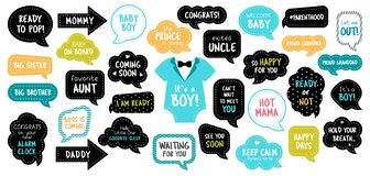 Baby shower photo booth photobooth props set. Baby shower photo booth props. Happy birthday party for boy. Blue cards and speech bubbles with funny quotes for royalty free illustration
