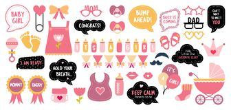 Baby shower photo booth photobooth props set stock illustration