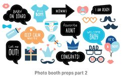 Baby shower photo booth photobooth props set. Baby shower photo booth props. Happy birthday party for boy. Blue cards and speech bubble with funny quotes for new royalty free illustration