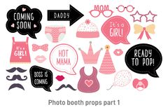 Baby shower photo booth photobooth props set. Baby shower photo booth props. Happy birthday party for girl. Pink cards and speech bubble with funny quotes for royalty free illustration