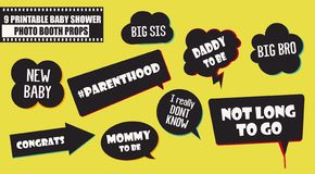 Baby shower photo booth props vector elements. Speech bubbles for baby arrival party royalty free illustration