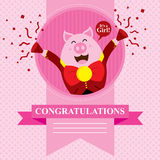 Baby Shower Pig. This is baby shower greetings. Vector format Stock Image