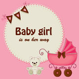 Baby shower pink card Royalty Free Stock Photography