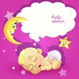 Baby shower pink card with newborn baby Royalty Free Stock Photography
