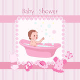 Baby shower. Pink baby shower with little girl royalty free illustration