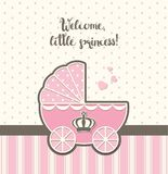 Baby shower, pink vintage stroller with royal crown , illustration Royalty Free Stock Image