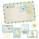 Baby Shower Postage Stamps. Baby Shower or Arrival Postage Stamps - for design and scrapbook - in Royalty Free Stock Image