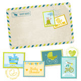 Baby Shower Postage Stamps. Baby Shower or Arrival Postage Stamps - for design and scrapbook - in Royalty Free Stock Photo