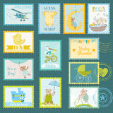 Baby Shower Postage Stamps Royalty Free Stock Image