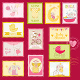 Baby Shower Postage Stamps. Baby Shower or Arrival Postage Stamps - for design and scrapbook - in Royalty Free Stock Images