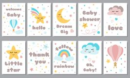 Baby shower posters set Invitation stars moon cloud rainbow Baby arrival shower collection text phrase Vector. Baby shower posters set with smiling stars royalty free illustration