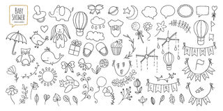 Baby shower related design elements set. Hand drawn vintage illustration. Royalty Free Stock Images