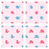 Baby shower related patterns. Birds, duck Royalty Free Stock Image
