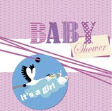 Baby Shower rolling paper, Stork and baby isolated Stock Photos