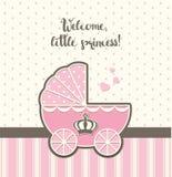 Baby shower rosa tappningsittvagn med den kungliga kronan, illustration Royaltyfri Bild