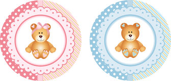 Baby shower round sticker labels with teddy bear Stock Images