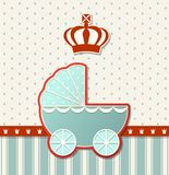 Baby shower with royal crown and blue vintage stroller, illustration Royalty Free Stock Images