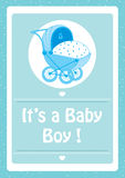 Baby Shower, It`s a baby boy blue invitation card,with baby stroller. Baby Shower, It`s a baby boy message,with blue  baby stroller invitation card Stock Photos