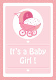 Baby Shower, It`s a baby girl pink invitation card,with baby stroller. Baby Shower, It`s a baby girl message,with baby stroller pink invitation card Royalty Free Stock Photography