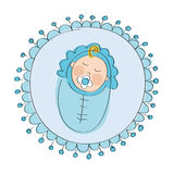 Baby shower - it`s a boy card - original hand drawn illustration Royalty Free Stock Photo