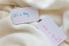 Baby shower `It`s a boy...and a girl`, announcement card on cozy warm white blanket with space for text Stock Photos