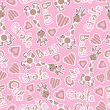Baby shower seamless pattern with cute baby giraffe on pink background Royalty Free Stock Image