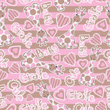 Baby shower seamless pattern with cute baby giraffe on stripes background Royalty Free Stock Photography