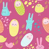 Baby Shower Seamless Pattern with Cute Bunnies, Birds and Newborn. Childish Background with Adorable Children stock illustration