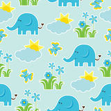 Baby shower seamless pattern with Cute elephant, butterfly, flowers, and sun on blue background. Suitable as wallpaper, scrap paper, and postcard Royalty Free Stock Image
