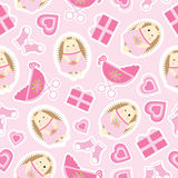 Baby shower seamless pattern with cute hedgehog, gifts, baby cart and socks on pink background. Suitable for baby shower wallpaper, scrap paper, and fabric Stock Photos