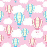 Baby shower seamless pattern with cute hot air balloons on pink sky Stock Image