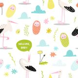 Baby Shower Seamless Pattern with Cute Stork and Newborn Child. Baby Background for Decoration, Wallpaper, Fabric. Vector illustration Royalty Free Stock Image