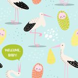 Baby Shower Seamless Pattern with Cute Stork and Newborn Child. Baby Background for Decoration, Wallpaper, Fabric. Vector illustration Stock Images