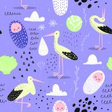 Baby Shower Seamless Pattern with Cute Stork and Newborn Child. Baby Background for Decoration, Wallpaper, Fabric. Vector illustration Stock Image