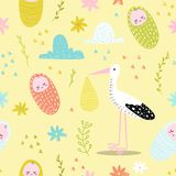 Baby Shower Seamless Pattern with Cute Stork and Newborn Child. Baby Background for Decoration, Wallpaper, Fabric. Congratulations Card. Vector illustration Stock Photo