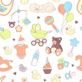 Baby shower seamless pattern. Texture for baby girl and baby boy Stock Image